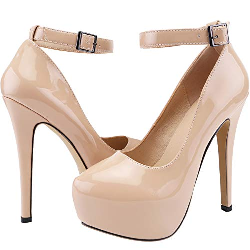 SHOESFEILD Nude Heels for Women, High Heels Closed Pointed Toe Platform Heels Sexy Buckle Dress Pumps Shoes(817-22,Nude39)