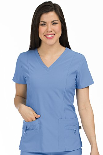 Med Couture Activate Women's V-Neck Princess Seam Scrub Top, Ceil, Large from Med Couture