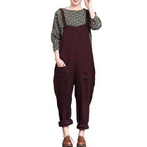 Hot Fancy beautystyle Women's Casual Overalls Linen Jumpsuits Harem Pants With Pockets