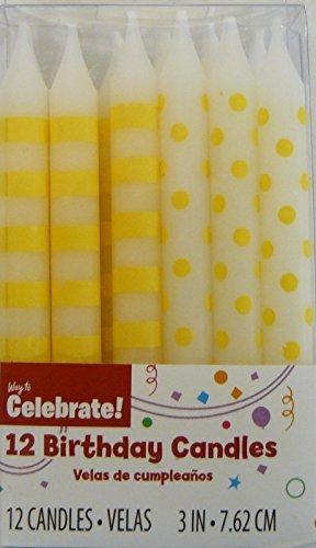 12 Yellow Polka Dot & Stripes Birthday Cake Candles