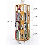 Natural Bamboo Bookshelf Revolving Bookcase 360 Rotating Organizer Cabinet Rack Removable Adjustable Divider