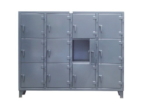 Strong Hold Products 25-18-3TMT Dark Gray 3 Door Mini Tier Locker, 12 gauge, 22'' Width x 18'' Diameter x 62'' Height by Strong Hold