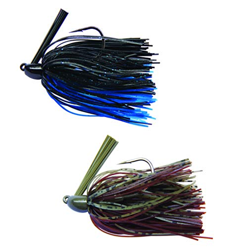 (The Angler Shop Professional Black and Blue/Dark Brown Pumpkin Tungsten Swim Jig - 2 Pack - 3/8 Oz Lead Free Fishing Lure for)