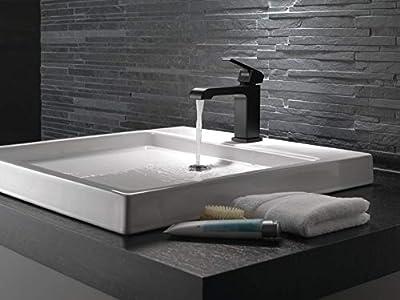 "Delta Faucet Delta Ara Single Handle Single Hole Lavatory Faucet with 4"" Plate"