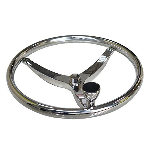 HOFFEN Sports Steering Wheel 13-1/2' with 5/8' -18 Nut and Turning Knob and Pressed Finger Grip for...