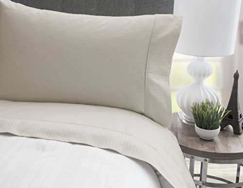 MONTEBELLO FINE LINENS 600 Thread Count 100% Cotton -Stripe Tuxedo Ivory Sheet ()