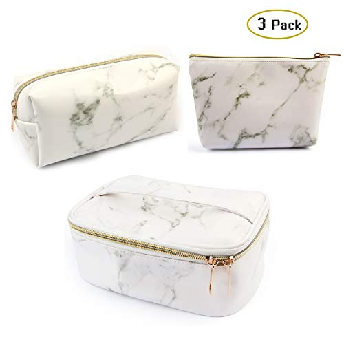 3 Pack Marble Makeup Bag Set Portable Toiletry Pouch Bag Waterproof Organizer Case Storage Makeup Brushes Bag for Women Girls