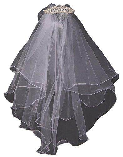 Rhinestone Pearl Comb Veil Tiara Wedding Holy First Communion Flower Girl Veil White (K0D26) ()