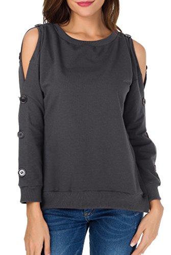 Sarin Mathews Womens Cold Shoulder Tops Long Sleeve Blouse Pullover Sweatshirts Grey XL from Sarin Mathews