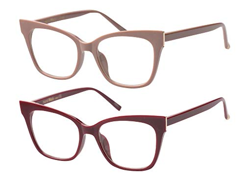 Discount Rimless Eyeglasses - SOOLALA Vintage Stylish 53mm Lens Oversized Reading Glass Big Eyeglass Frame, RedKhaki, 1.25