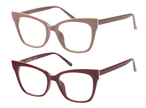 SOOLALA Vintage Stylish 53mm Lens Oversized Reading Glass Big Eyeglass Frame, RedKhaki, - Discount Eyeglasses Rimless