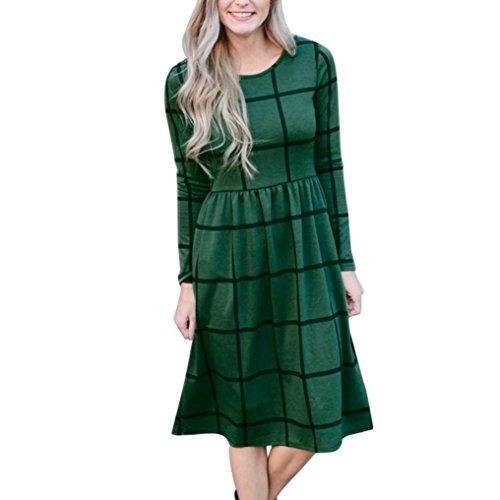 Kleid damen Kolylong® Frauen Elegant Karierte Rundhals Kleid Vintage Langarm Kleider Knielang Midikleid Festlich Skaterkleid Lässig Kleid mit taschen Bodycon Party Kleid Abendkleid Bluse Grün