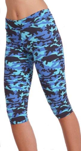 Margarita - Designer Activewear - Blue Camo Capri - Medium