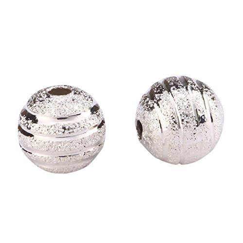 (50pcs Top Quality 10mm Ribbon Pattern Spacer Beads Beautiful Round Metal Beads Sterling Silver Plated Brass CF10-10)