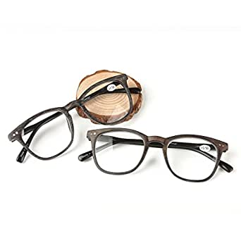 Qi Song Woodgrain Print Quality Spring Hinge Reading Glasses Men Women Readers+1.0+1.5+2.0+2.5+3.0+3.5+4.0 (2 Paris(Brown+Gray), 1.0)