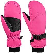 Kids Waterproof Winter Gloves Warm Thinsulate Cotton Ski Mittens for Girls/Boys