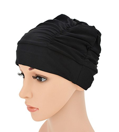 SRYL Swimming Caps Long Hair Nylon Swim Cap Pleated Cloth Fabric Bathing Hats Lycra Beanie Hat for Adult Men Women Y20 - Caps Swim Nylon