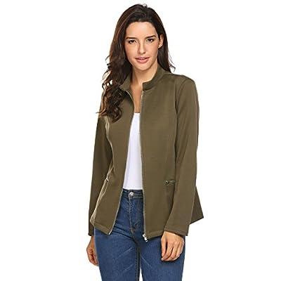Concep Women Collarless Zipper Blazer Office Jacket Long Sleeve Slim Fit Cardigan at Women's Clothing store