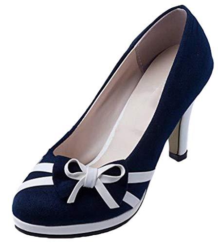 Plateforme Femme Rond Sexy Escarpins Bleu Talon Suédé Epais Haut Bevalsa Bride Bout Cheville Bowknot Chaussures Z81TRRxw