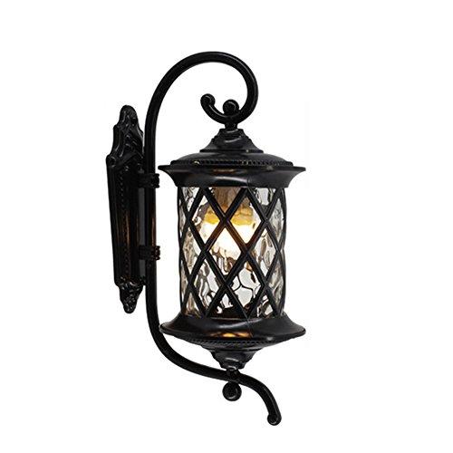 AOKARLIA Premium Outdoor Wall Lights, E27 Sconce Lamp/Metal Courtyard Light/Europe Villa Lights,Black