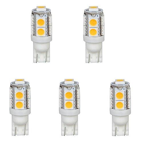 hero-led-t10wg9t-cw-12v-dc-t10-wedge-194-921-168-ultra-bright-9-led-5050-smd-led-bulb-5-pack-cool-wh