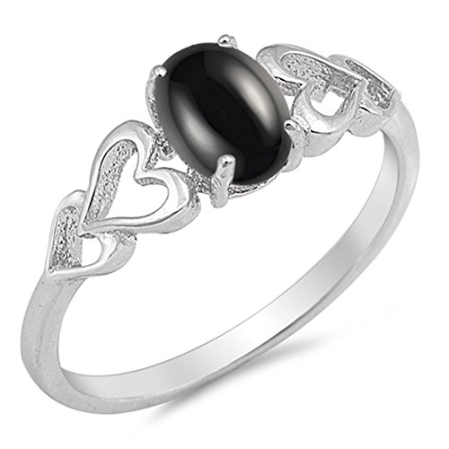 925 Sterling Silver Cabochon Natural Genuine Black Onyx Oval Heart Ring Size ()