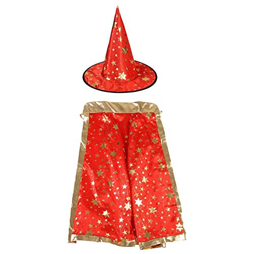 Zerodis Fancy Witch Wizard Cloak Cape Hat with Golden Stars Pattern Halloween Costumes for Kids Halloween Cosplay(Red)