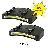 2 PACK - 400 Lumen Hi Mode / 180 Lumen Low Power Mode (2 X Cap Lights > 2 X Power & 2 X Bright) COB LED Clip On Cap Light DOUBLE BRIGHT (100% MFG Guarantee) (Black)