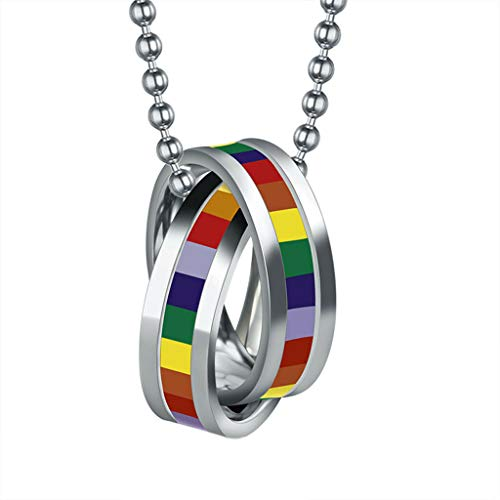 (Stainless Steel Color Rainbow Double Ring Crossed Necklace Lesbian Gay Pride Necklace Jewelry Crafting Key Chain Bracelet Pendants Accessories Best)
