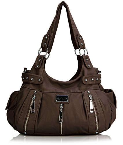 Ladies Purse (Scarleton 3 Front Zipper Washed Shoulder Bag H129221 - Coffee)
