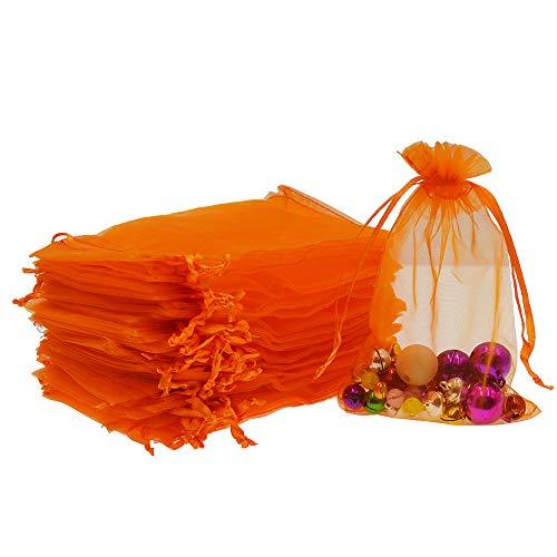 Orange Organza Bags - Lautechco 100Pcs Organza Bags 4x6 inches Orange Organza Gift Bags Small Mesh Bags Drawstring Gift Bags Christmas Drawstring Organza Gift Bags (4x6 inches Orange)