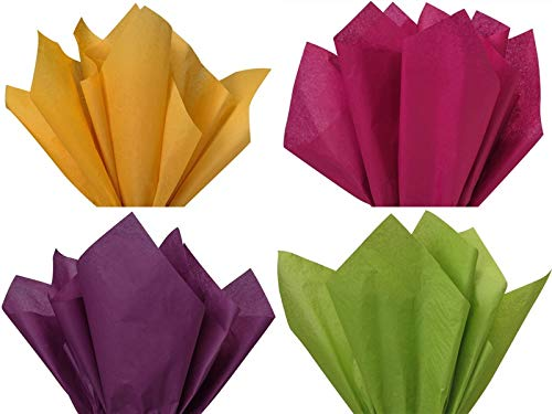 12 Assorted 4 Colors Christmas Holiday Colors Gift Grade Tissue Paper Sheets - 15