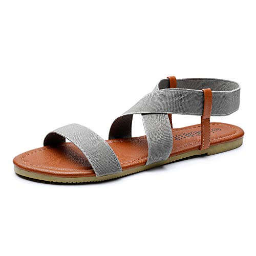 SANDALUP Women's Elastic Flat Sandals Grey 09