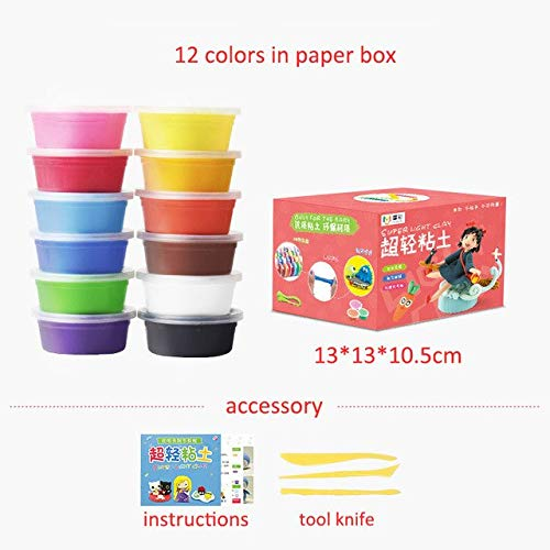 12 colors Laliva Super Light Modeling Clay Set Air Dry Soft Plasticine Plastilina Play Dough Playdough Polymer Clay DIY Toy 24 colors  36 colors - (color  24 colors)