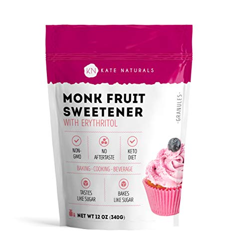 Extract Han Liquid Luo - Monk Fruit Sweetener with Erythritol Blend (12oz) by Kate Naturals. 1:1 Natural Sugar Replacement. Non-GMO, Gluten Free, Zero Calorie, Low Carb & Keto Friendly. No Aftertaste. 1-Year Guarantee.