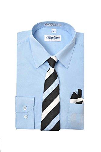 - Boy's Premium Dress Shirt with Matching Necktie and Pocket Square Set (16, Light Blue)