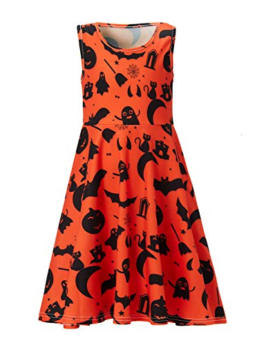 10t 12t Little Girls Cat Dress Sleeveless Cobweb Vacation Wear Clothes Crew-Neck Hell Door Clothes Spring Seaside Outfit Apparel Spider Web Star (Bat Halloween, 10-13 T) for $<!--$13.98-->