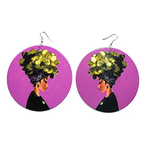 Teri's Boutique Beautiful Big Curly Afro Hair Style African Woman Portrait Native Fashion Dangle Drop Earrings (Purple) ()
