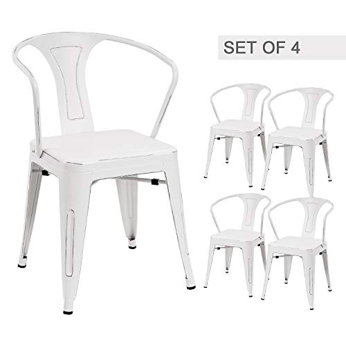 Devoko White Metal Chair Indoor-Outdoor Tolix Style Kitchen Dining Chairs Stackable Arm Chairs Set of 4 (White)