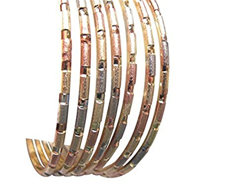 Semanario (7) Teenager and Adult 14k Tri Color Gold Overlay Bangle Bracelets for Your Princes Sizes 4- 6 (Ages 5 to Adults) (B)
