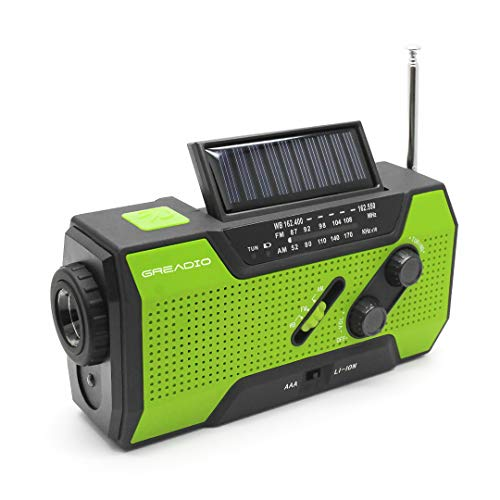 - Emergency Weather Solar Crank AM/FM NOAA Radio with Portable 2000mAh Power Bank, Bright Flashlight and Reading Lamp for Household Emergency and Outdoor Survival (Green)