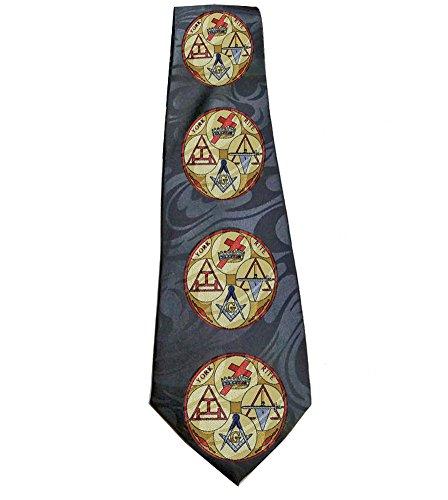 Black Background Necktie (Masonic Neck Tie - Black Background Polyester long tie (York Rite) design for Freemasons. Knights Templar, Holy Royal Arch and Cryptic Masons (Black (York Rite)))