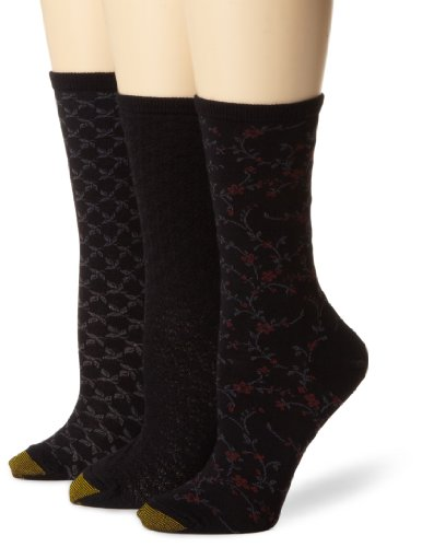 Gold Toe Woman\'s 3-Pack Floral Diamonds And Leaf Patterned Socks
