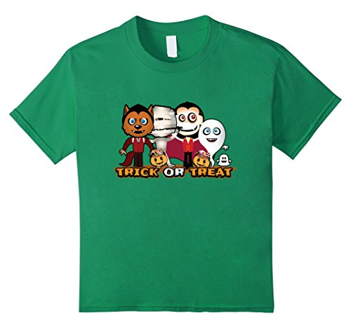Kids Halloween Trick Or Treat T shirt 12 Kelly Green