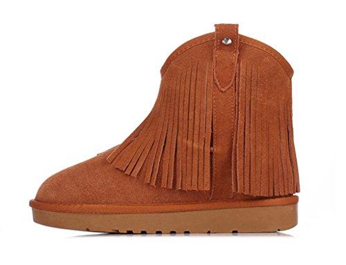 Maroon neige et coton d'hiver Couleur Bottes à gland neige Bottes femelle plat de boots épaississement Maroon taille en sauvage 38 chaussures Raquettes FCnwqUp