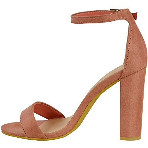 Sandales sexy pour femmes bride cheville bout ouvert - Rose Blush Faux Daim, 38