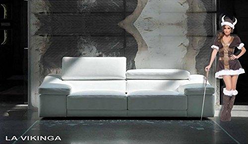 Sofa Original Die vikinga, Stoff Mikrofaser La Vikinga 2 posti 2 spalliere reg. Tessuto Microfibra Sabbia