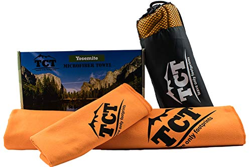The Camping Trail Microfiber Travel Towel Set It's a Quick Drying Outdoor Towel That is Super Absorbent, Anti Bacterial and Lightweight. Comes with a Stuff Sack and. (Orange)