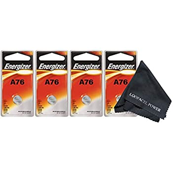 5 Energizer A76 LR44 1.55V Button Cell Alkaline Batteries Individually Packaged Each with Retail Hanging Tab