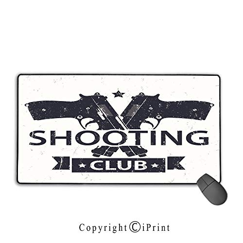 Non-slip rubber base mouse pad,Vintage,Shooting Club Emblem Sign with Crossed Guns Pistols Grunge Background Hobby Theme,Cream Black, Suitable for offices and homes, Mouse pad with lock,9.8